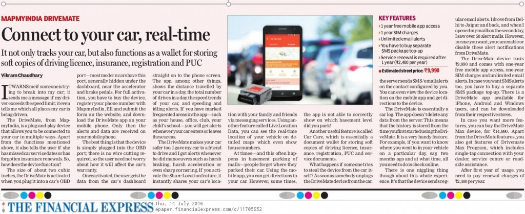 The Financial Express reviews DriveMate