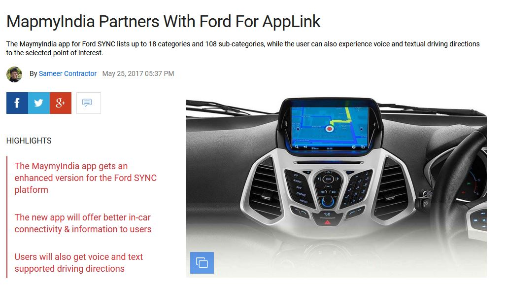 MapmyIndia Partners With Ford For AppLink