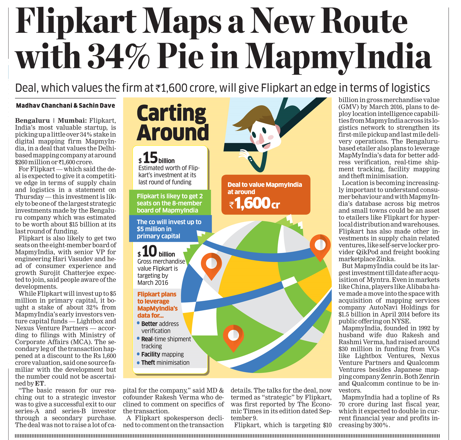 """Flipkart Maps a New Route with 34% Pie in MapmyIndia"", The Economic Times - December 4, 2015"