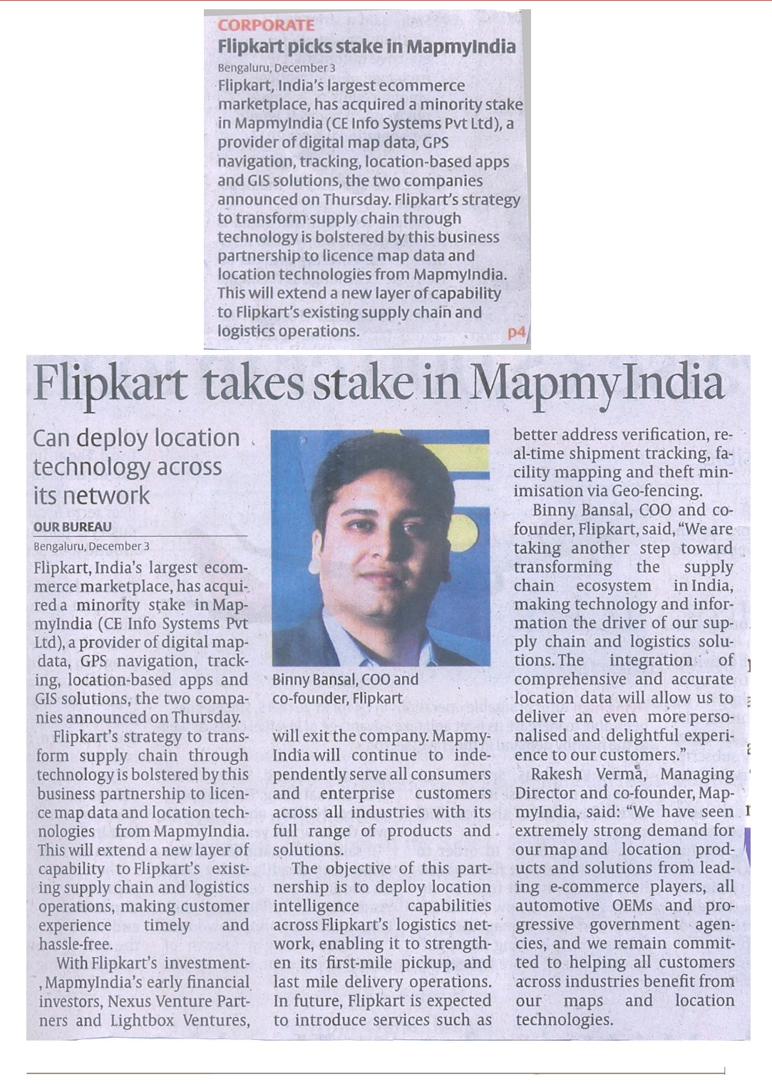 """Flipkart Takes Stake in MapmyIndia"", The Hindu Business Line - December 4, 2015"