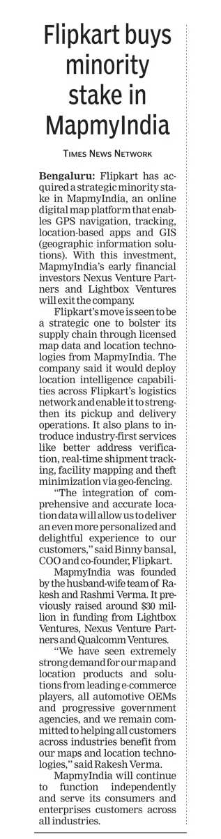 """Flipkart buys minority stake in MapmyIndia"", The Times of India - December 4, 2015"