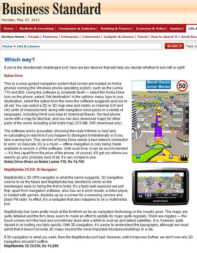 Which Way? Business Standard | MapmyIndia Press